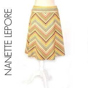 NANETTE LEPOE CheRvron Boho Tweedy A-line Skirt